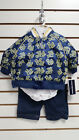 Rocawear New Born Baby Boy 3pcs Set- Jacket, Shirt, Pants in Blue