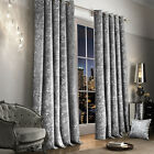 Luxury Crushed Velvet Curtain Pair Fully Lined Ring Top Eyelet Silver