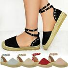Womens Ladies Espadrilles Wedge Platform Sandals Ankle Summer Strappy Shoes Size