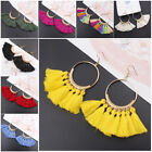 Women Vintage Bohemian Boho Tassel Colorful Crystal Jewelry Dangle Stud Earrings