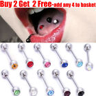 Surgical Steel Crystal Gem Ball Tongue Bar Tongue Stud Barbell Tongue Piercing