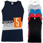 pacco 5 canotte da lavoro stock t shirt smanicate cotone fruit of the loom