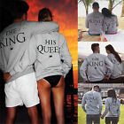 King and Queen Print Couple Hoodie Sweatshirts Pullover Jumper Matching Clothes