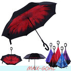 wind proof umbrella - C-Handle Wind-Proof  Inverted 2 Layer Upside Down/Reverse Opening Umbrella BK
