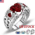 Crystal Women 925 Sterling Silver Rhinestone Heart Finger Ring Wedding Jewelry