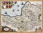 Vintage Style Map of Somerset County 1646 Poster Atlas Art Print A3 A4