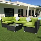 Kinbor 7PC Rattan Wicker Sofa Sectional Green Cushions Patio Furniture Outdoor