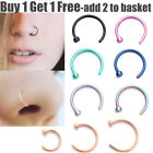 Surgical Steel Open Nose Ring Hoop Lip Nose Rings Piercing Stud 7 Colour 3 Size