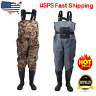 Fly Fishing Breathable Waterproof Neoprene Men Chest Waders Stocking Foot +Shoes