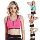 Womens Seamless Push Up Sports Yoga Fitness Bra Zip Front Running Workout Vests