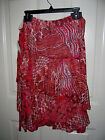 Focus 2000 Womens Layered Skirt Sizes S M L or XL Red/Berry/Orange Colors NWT