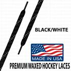 WAXED Hockey Skate Laces - B1G1 30% Off! Black/White - Made in USA! 1 Pair!