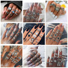 Boho Bohemian Vintage Retro Women's Silver Elephant Mid Finger Knuckle Rings Set
