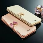 Fashion 3d Butterfly Bling Strass Flip Pu Leather Card Pocket Stand Case Cover