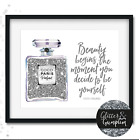 Abstract Fashion Wall Art illustration perfume print beauty begins chanel quote