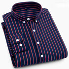 Mens Italian Style Striped Casual Formal Shirt Dress Long Sleeve 6448