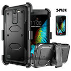 Shockproof Hybrid Belt Clip Holster Phone Case Cover With Glass Screen Protector