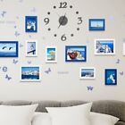 Living Room Family Photo Frames Wall Hanging Design Clock Photo Picture Holder #