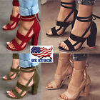 black lace heel - USA Women's High Block Heel Open Peep Toe Lace Up Sandals Dance Party Shoes Size