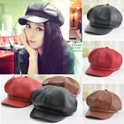 Fashion Women Leather Peaked Flat Captain Golf Caps Gatsby Newsboy Driving Hat