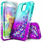 For Samsung Galaxy S5 | Liquid Glitter Bling Cute Cover Case + Screen Protector