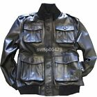 Men Genuine Leather Bomber New Fashion Design Front Button Outwear Black Jacket