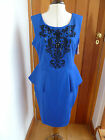 LIPSY BRIGHT ROYAL BLUE BEADED AND EMBROIDERY DETAIL PEPLUM DRESS 16 BNWT