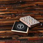 Personalised 4pc Round Slate Coasters in Wooden Gift Box Customised Monogrammed