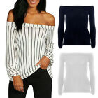 Fashion Womens Off Shoulder Long Sleeve Loose Slim Summer T-Shirt Tops Blouse BD