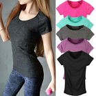 Womens Breathable T-Shirt Quick Dry Wicking Cool Sports Running Gym Tops BD