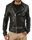 Men's Stylish Genuine Lambskin Motorcycle Biker Leather Jacket Mj 05