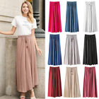 Women Long Pleated Skirt Vintage Elastic Waist Swing Flared Skater Midi Skirt RT