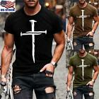 Mens Slim Fit Short Sleeve V Neck T-shirt Muscle Tee Shirts Casual Top Blouse US image