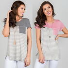 Womens Fashion Round Neck Tops Casual Short-sleeved T-shirt Tops Striped Shirts