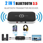 2 In 1 Wireless Stereo Audio Bluetooth Transmitter Receiver Adapter Black NEW AU