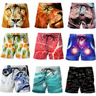 Men's Beach Boardshorts Swimwear Surf Bathing Trunks with Pockets Funny Printing