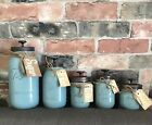 Mason Jar Decor Kitchen Canister Set Vintage Rustic Seaside Blue 1 to 5 Pieces