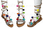 Women Summer Beach Boho Sandals Ladies Ankles Strapped Flat Low Heels Shoes Size