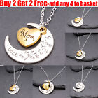 I Love You To The Moon & Back Family Heart Silver Necklace Pendant For Women Men