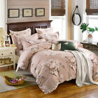 Brown Flowers Birds Print Cotton Bedding Sets Floral Duvet Cover Flat Sheet Set