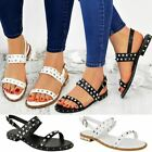 Womens Ladies Flat Studded Sandals Summer Strappy Embellished Rock Shoes UK Size