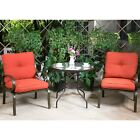 3 Pc Bistro Set Outdoor Garden Patio Furniture Dining Set Chairs W/ Glass Table