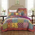 Tache Home Fashion Bohemian Carnival Garden Patchwork Quilted Coverlet