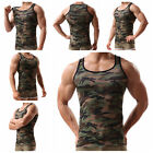 Men Green Army Camo Camouflage Muscle Gym Bodybuilding T-shirt Tank Top Vest RH