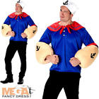 Sailorman Mens Fancy Dress Sailor Character 1980s 80s Adults Costume Outfit New