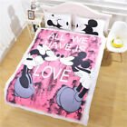 3PC Disney Kids Bedding Set Mickey Minnie Love Couple Duvet Cover Set Pillowcase