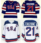 1980 Miracle On Ice Team USA Mike Eruzione 21 Official Hockey Jersey White Blue