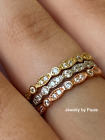14k Solid Gold Diamond Eternity Band Stackable Ring Endless Wedding Band