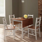 White Dropleaf Dining Table and 4 Chair Solid Wooden Dining Chair Set Kitchen