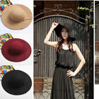 Retro Womens Floppy Wide Brim Wool Felt Bowler Beach Hat Summer Sun Cap GIFT